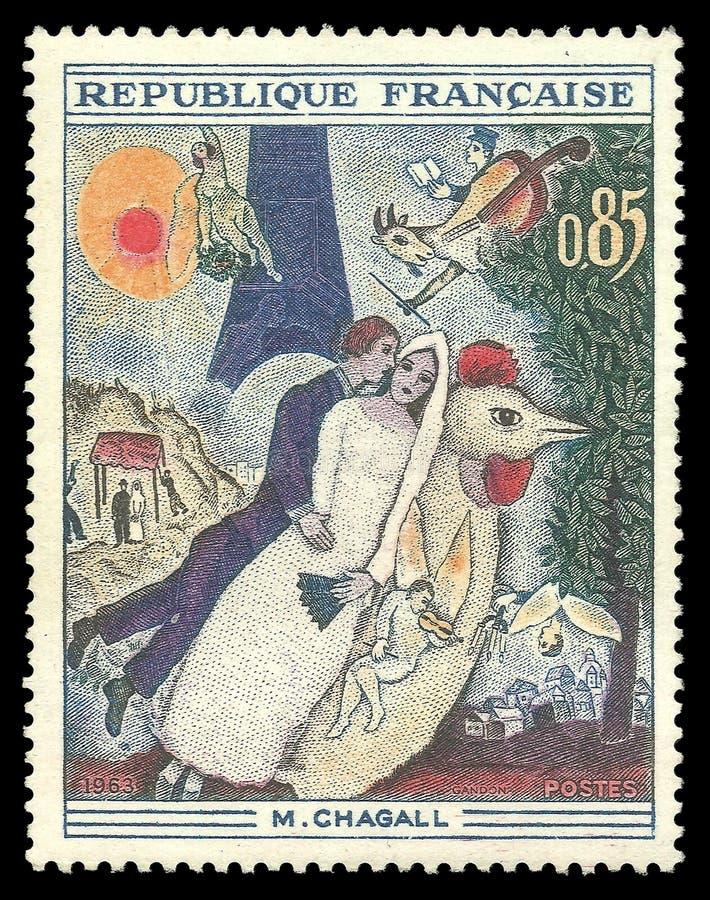 Betrothed en de Toren van Eiffel door Chagall royalty-vrije stock fotografie