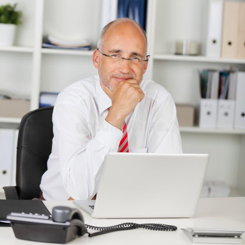 Betrouwbare zakenman met hand op kin stock afbeelding
