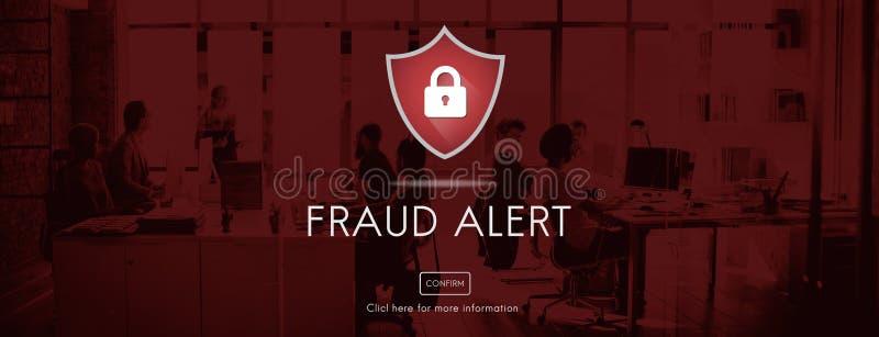 Betrugs-wachsame Vorsicht verteidigen Schutz Notify Protect Concept lizenzfreie stockfotografie