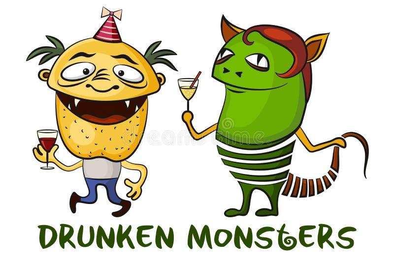 Betrunkene Karikatur-Monster Eingestellt Vektor Abbildung ...