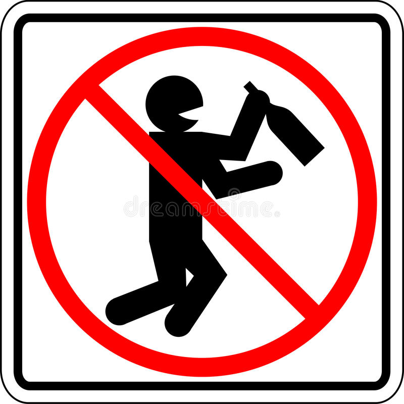 Betrunkenes und trinkendes Leute verbotenes vektorzeichen vektor abbildung