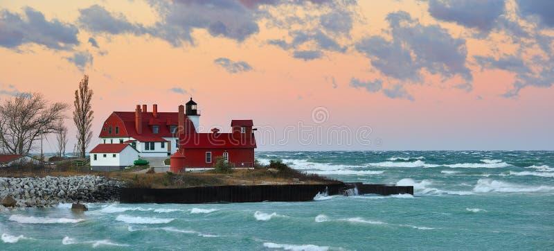 betsie jeziorny latarni morskiej Michigan punktu wschód słońca usa zdjęcia royalty free