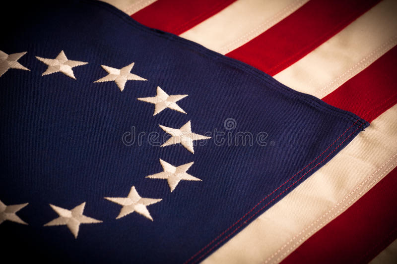 Betsy Ross - 13 star American Flag. A Betsy Ross 13 star American Flag royalty free stock photos