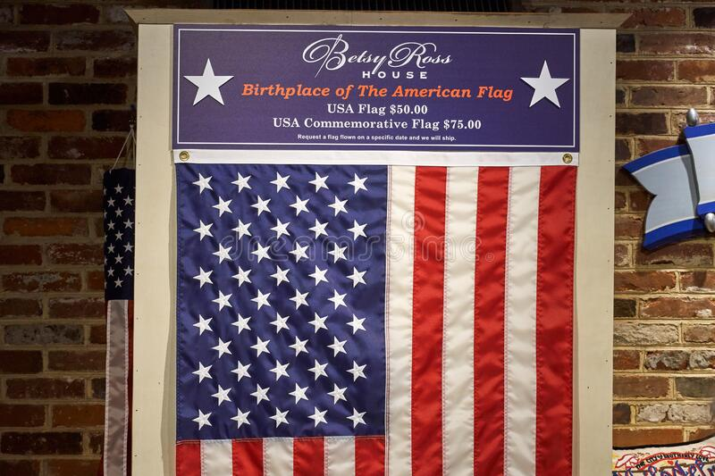 Betsy Ross Flag in The Betsy Ross House stock photos