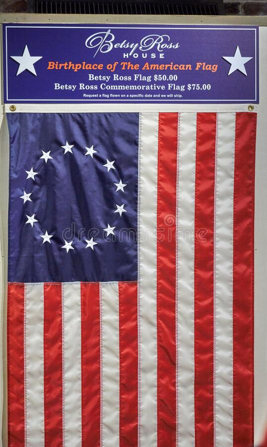 Betsy Ross Flag in The Betsy Ross House royalty free stock photo
