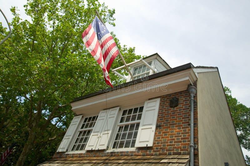 Betsy Ross House op de Derde Straat van het Oosten, Philadelphia, Pennsylvania, waar Betsy Ross eerste Amerikaanse vlag in 1777 c stock foto's