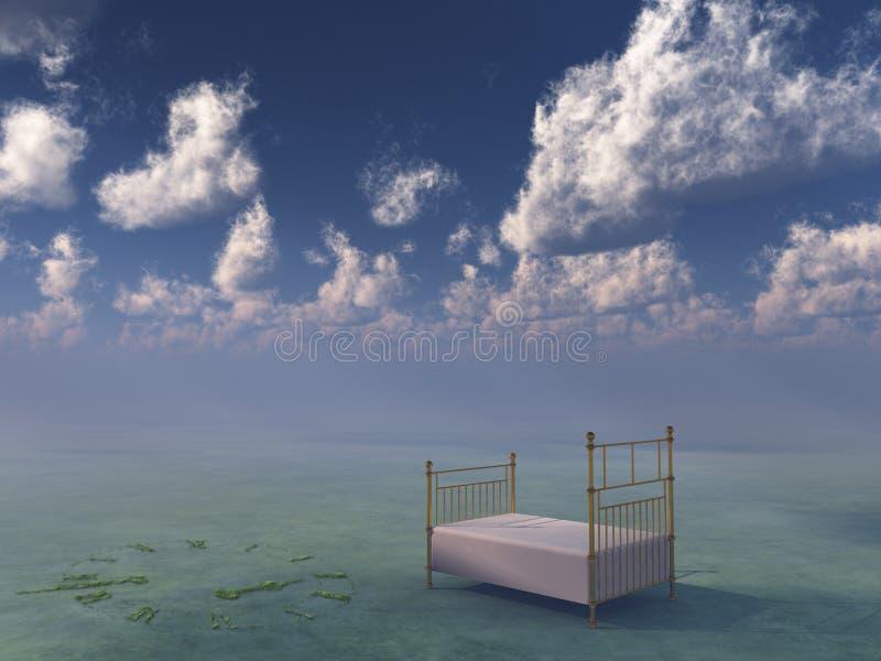 Bett in der surrealen ruhigen Landschaft lizenzfreie abbildung