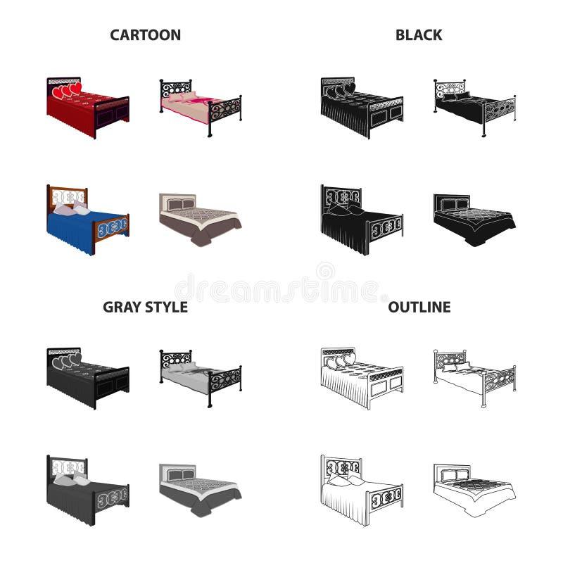 Bett, Matratze, Bettdecke und andere Netzikone in der Karikaturart Gewebe, Bettzeug, Bleibeikonen in der Satzsammlung lizenzfreie abbildung