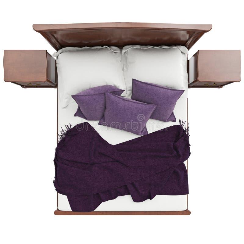 bett mit kissen und deckenabdeckung draufsicht stock abbildung illustration von nachrichten. Black Bedroom Furniture Sets. Home Design Ideas