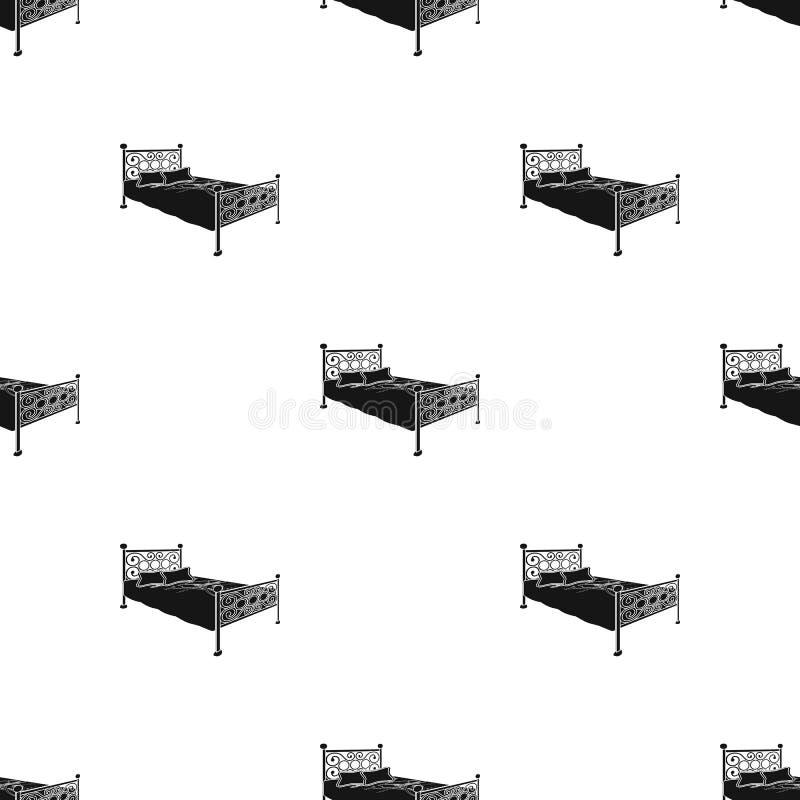 Bett mit Metallfuß Bett mit rosa Bett und zurück geschmiedet Betten Sie einzelne Ikone in der schwarzen Artvektorsymbol-Vorratill lizenzfreie abbildung