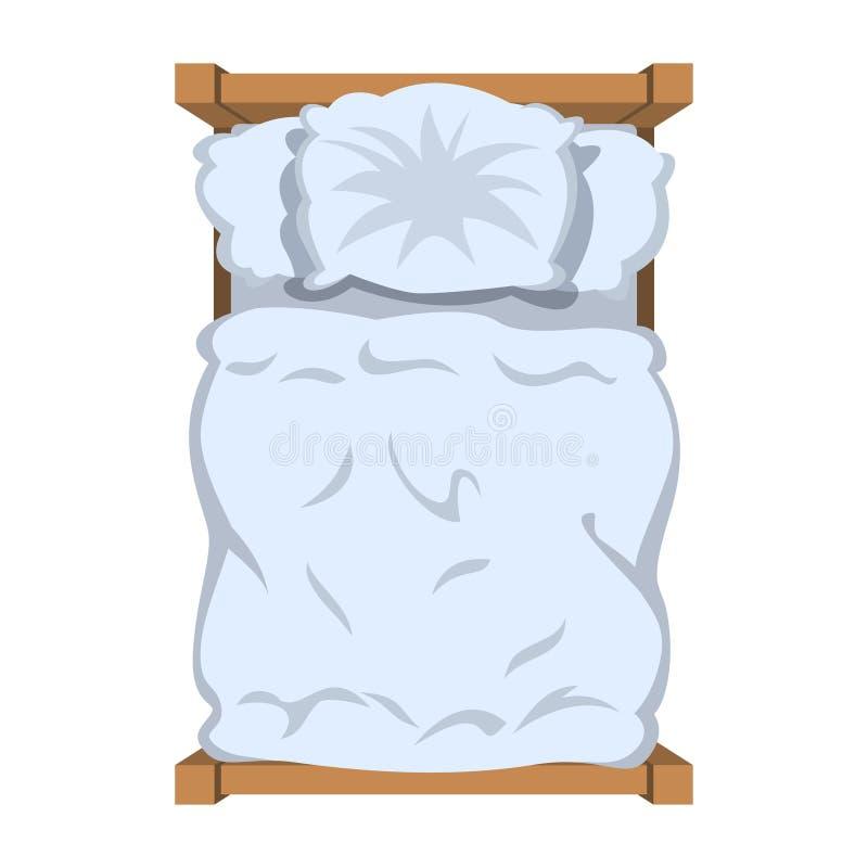 Bett mit weißem Leinen, Draufsicht Weißes Bettzeug stock abbildung