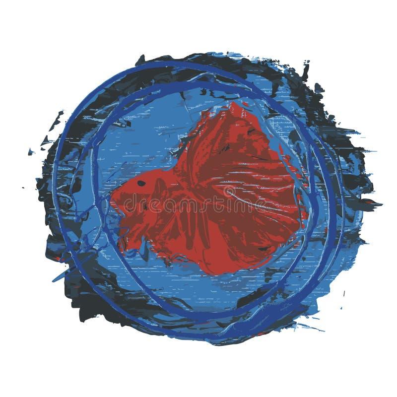 Betta Fish de combate Siamese alaranjada abstrata no fundo azul ilustração do vetor