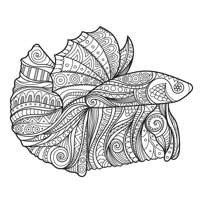 Betta Fish Hand Drawn Coloring Page Stock Vector ...