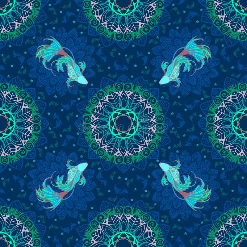 Betta splendens fish or fighting fish design with lagoon concept and decorative with mandala in fantasy blue tone for seamless. Pattern with blue background stock illustration