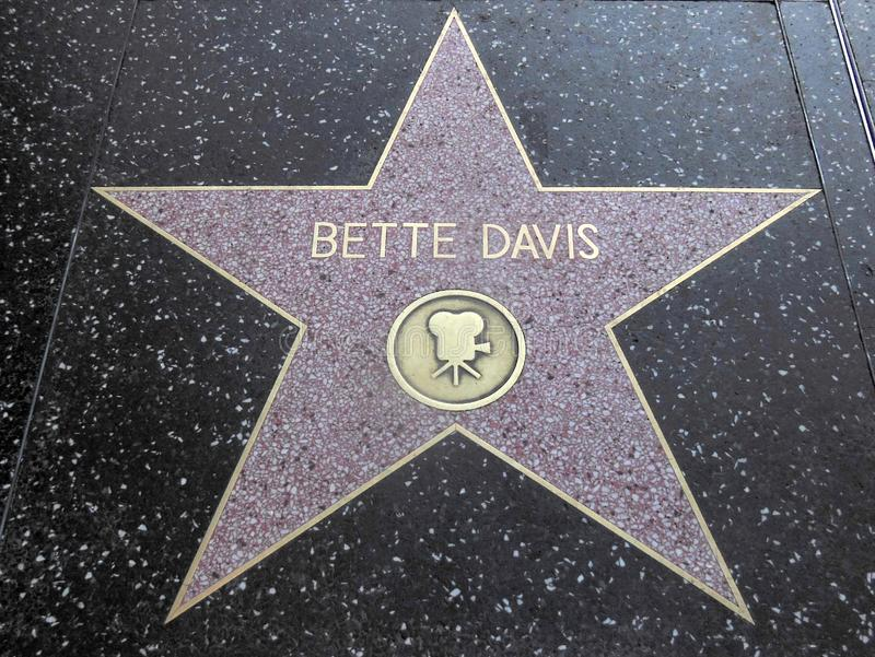 Bette Davis Actress Hollywood Walk of Fame Star immagini stock
