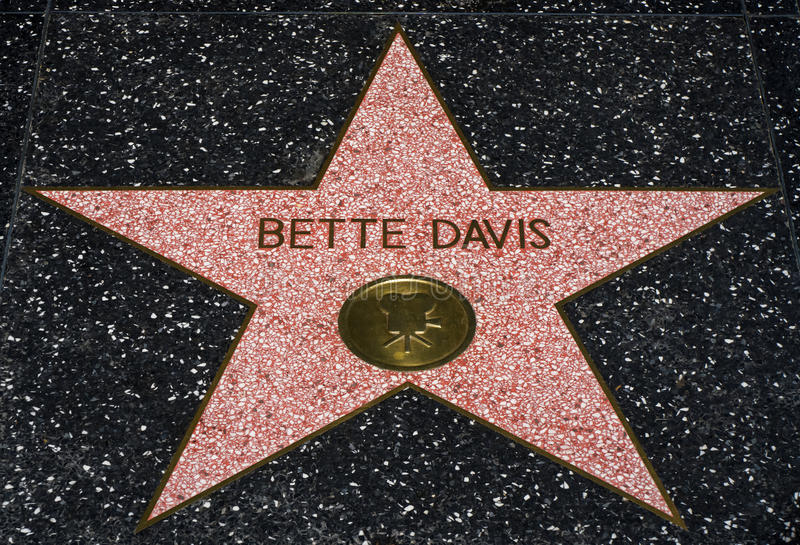 Bette Davis Star on the Hollwyood Walk of Fame. HOLLYWOOD, CA/USA - JULY 9, 2016: Bette Davis star on the Hollywood walk of fame stock images