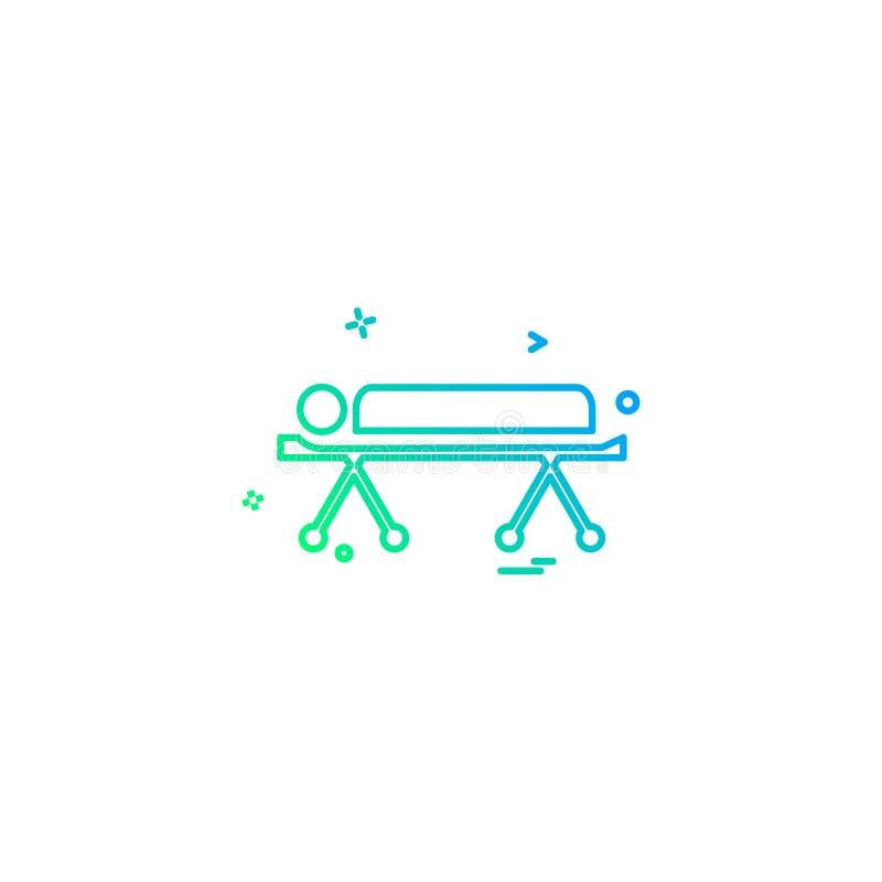 betten Sie Notkrankenhauspatient strature Bahrenikonen-Vektorde vektor abbildung