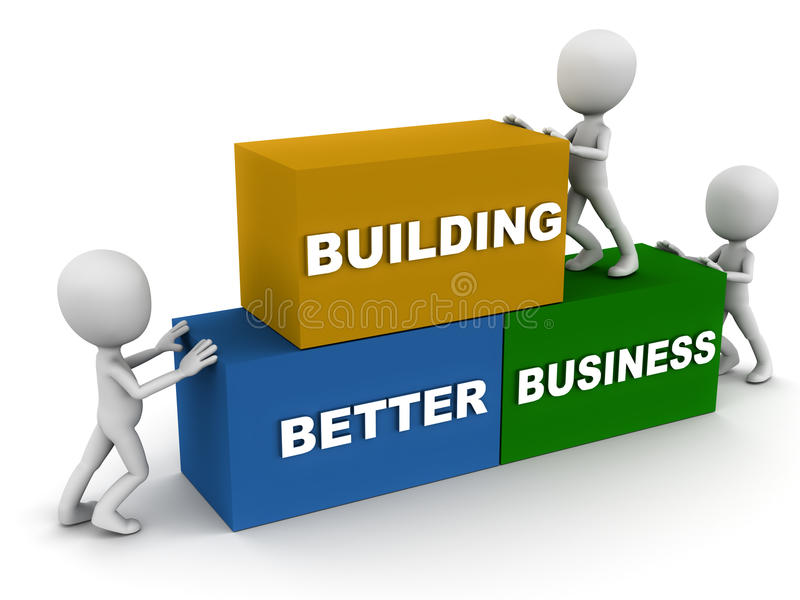 Better business. Building better business concept, words put in place by little men stock illustration