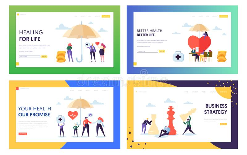 Better Health for Life Landing Page Set. Treatment for Whole Family. Business Strategy Make Strong Company and Increase Capital. Of Organization Website or Web vector illustration