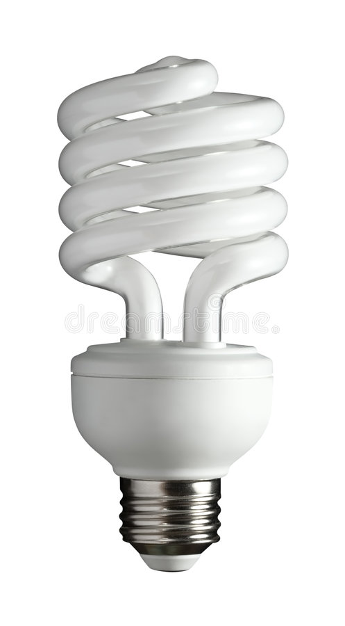 A Better Light Bulb. Fluorescent light bulb isolated on a white background stock photography