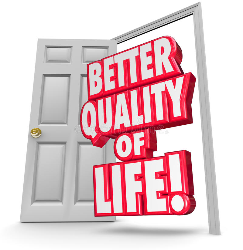 Better Quality of Life Improve Situation Open Door vector illustration
