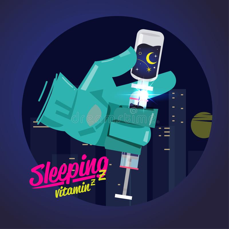 Better sleep concept. sleep vitamin in syringe - vector vector illustration
