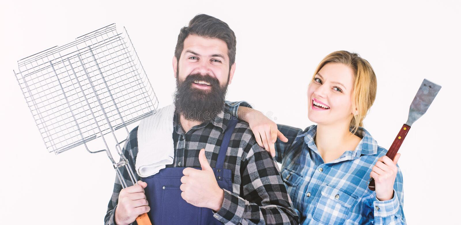 We are better when we together. Family weekend. Man bearded hipster and girl. Preparation and culinary. Couple in love royalty free stock photography