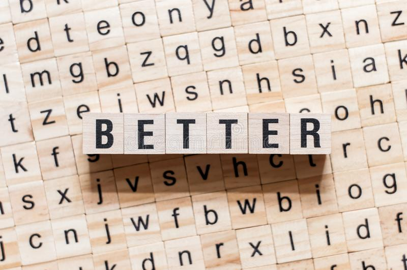 Better word concept on cubes stock photos