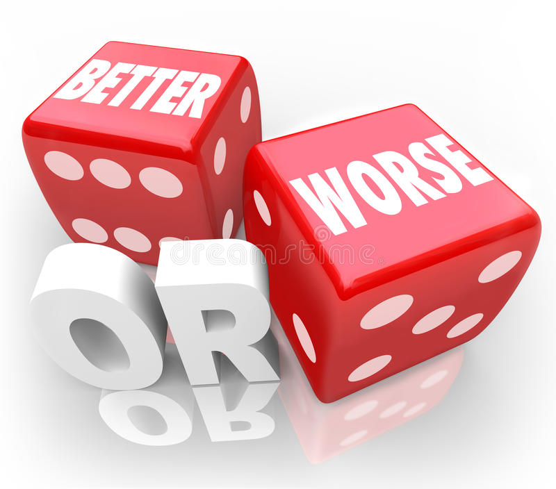 Better Worse Two Red Dice Words Improve Chance. Better Or Worse words on two red dice to illustrate gambling on an opportunity to improve or make your situation vector illustration