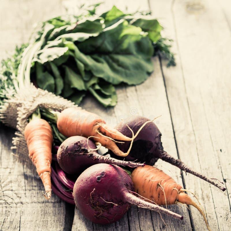 Betterave et carotte crues images stock