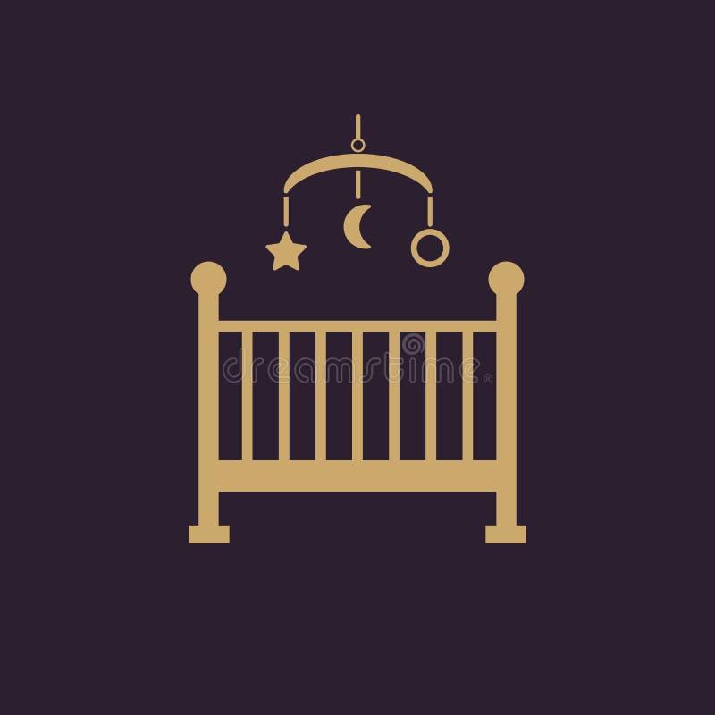 Bettikone der Kinder Babybettdesign Wiege und Haus, Krankenschwester, Bettsymbol der Kinder web graphik ai app zeichen nachricht vektor abbildung