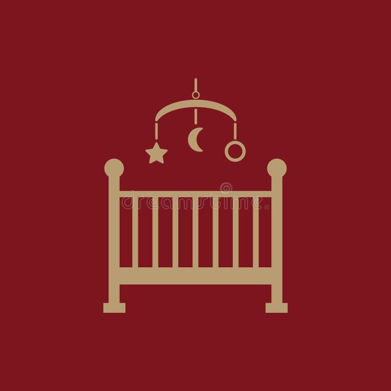 Bettikone der Kinder Babybettdesign Wiege und Haus, Krankenschwester, Bettsymbol der Kinder web graphik ai app zeichen nachricht stock abbildung