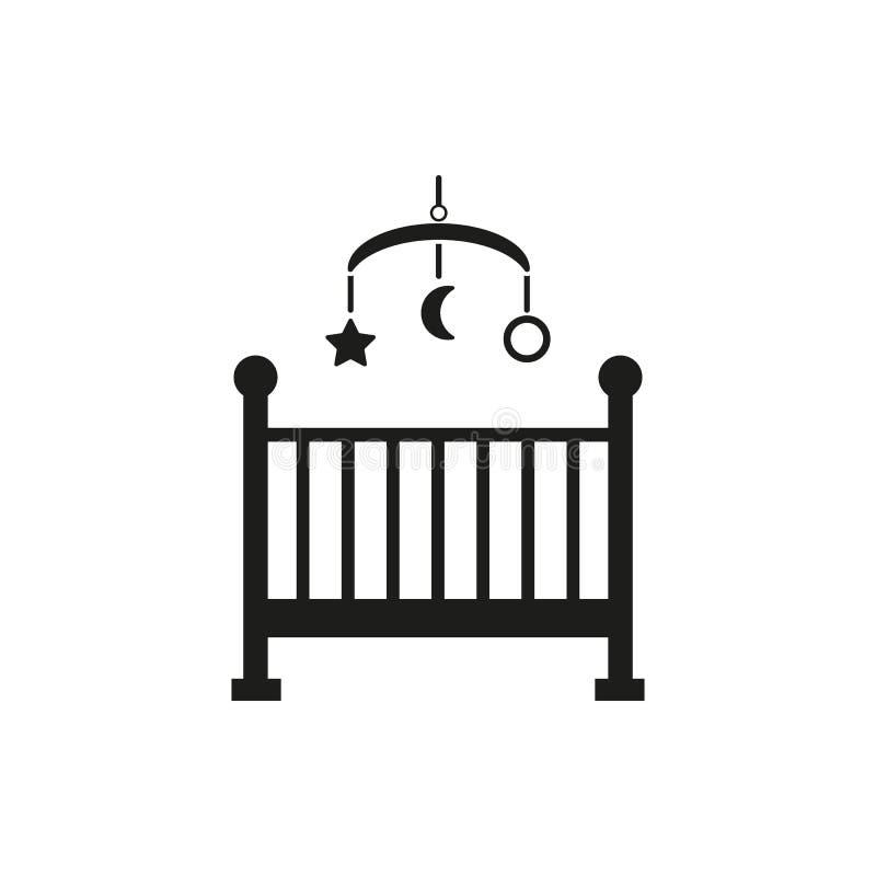 Bettikone der Kinder Babybettdesign Wiege und Haus, Krankenschwestersymbol web graphik ai app zeichen nachricht flach bild lizenzfreie abbildung