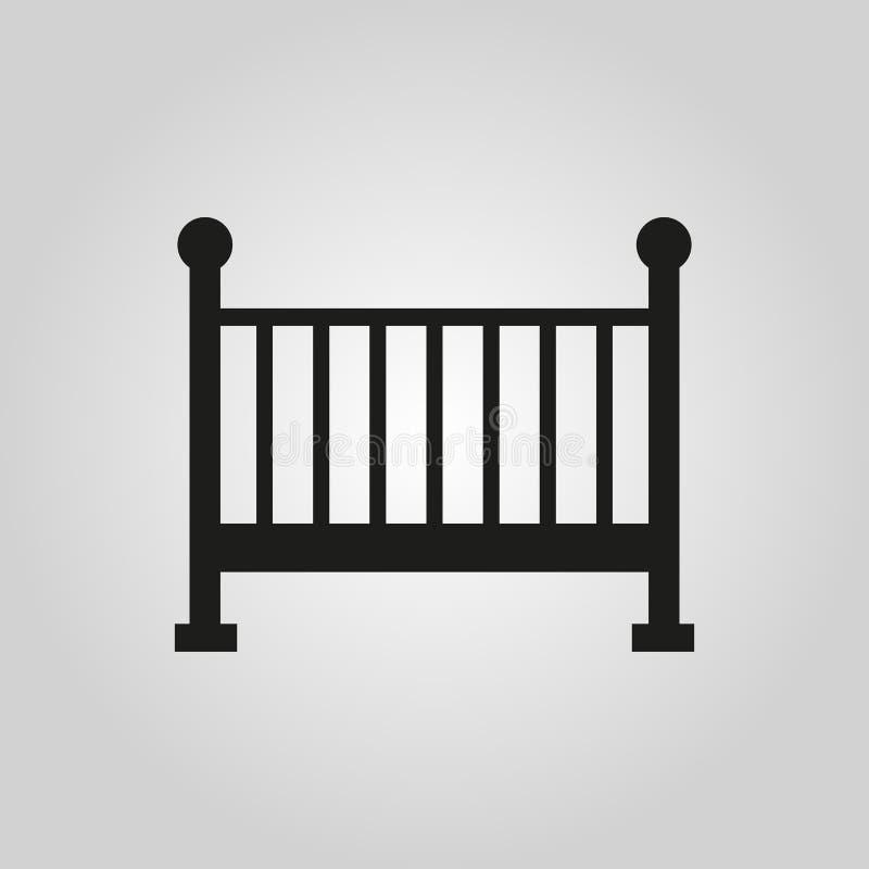 Bettikone der Kinder Babybettdesign Wiege und Haus, Krankenschwestersymbol web graphik ai app zeichen nachricht flach bild vektor abbildung