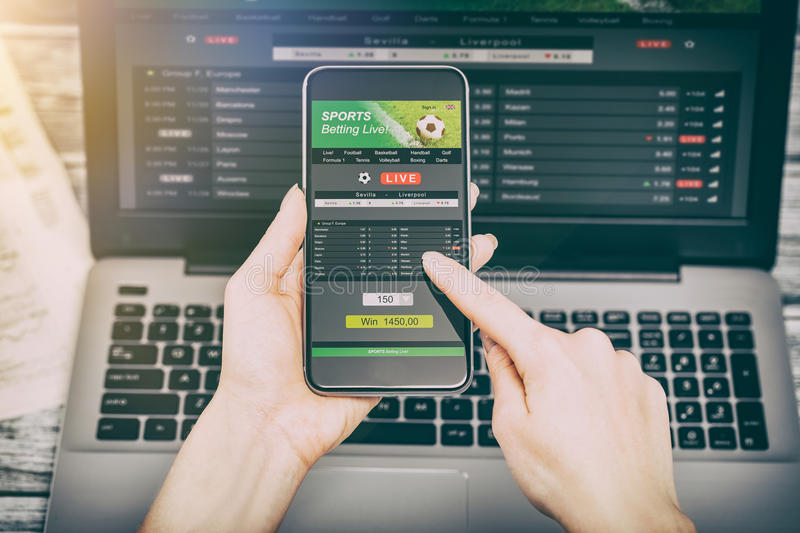 Betting bet sport phone gamble laptop concept stock image