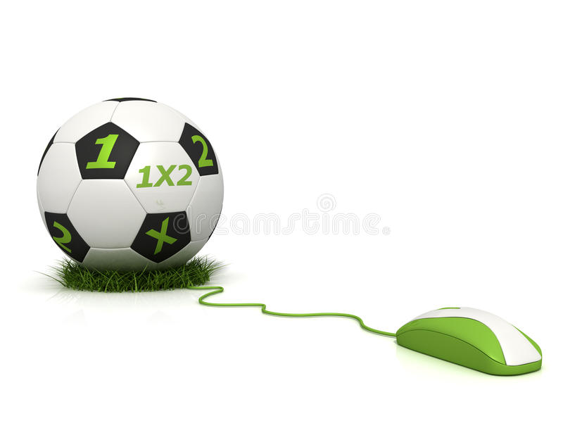 Betting online. Conceptual image of football betting on line - rendering royalty free illustration