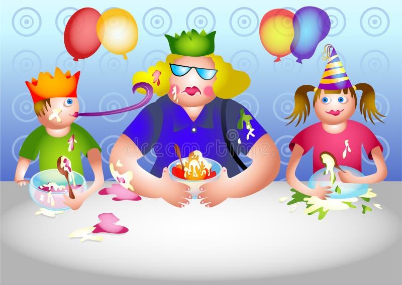 Betty consigue invitada a una fiesta de cumpleaños ilustración del vector