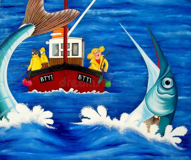 Betty gaat Overzeese Visserij stock illustratie