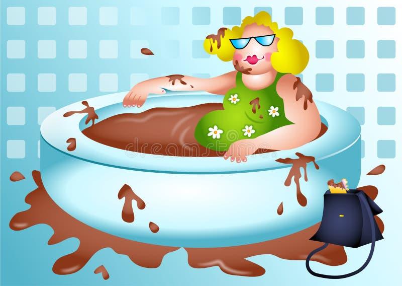Betty genießt ein Schokoladenbad stock abbildung