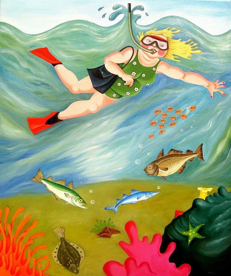 Betty vai Snorkeling ilustração do vetor