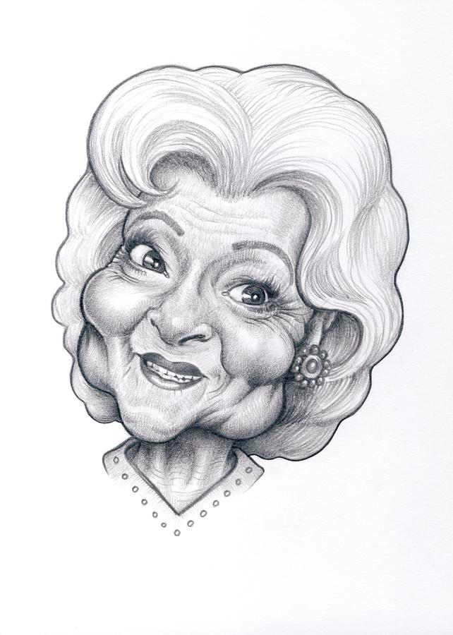 Betty White Caricature photographie stock libre de droits