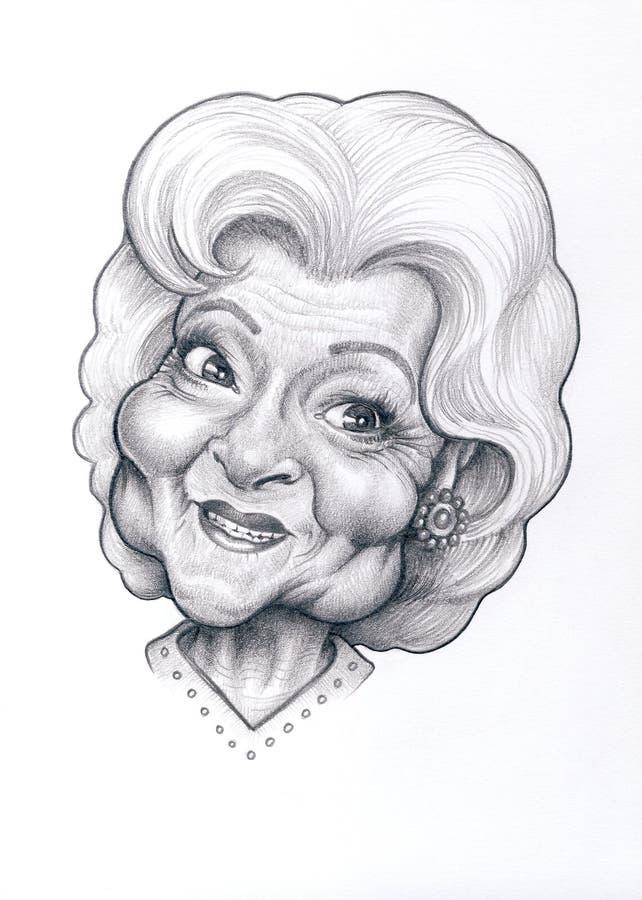 Betty White Caricature fotografía de archivo libre de regalías