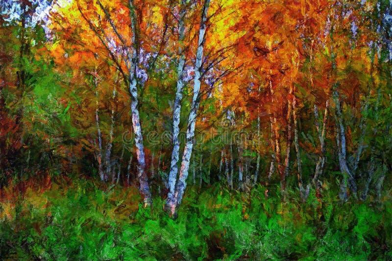 betulla della pittura a olio in mezzo ad erba in autunno royalty illustrazione gratis