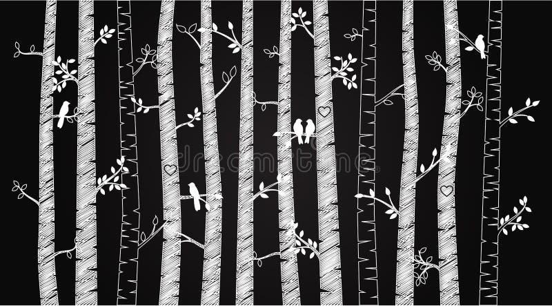 Betulla o Aspen Trees della lavagna di vettore con Autumn Leaves e gli uccelli di amore royalty illustrazione gratis