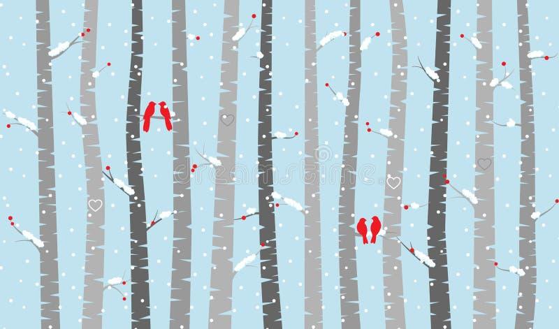Betulla o Aspen Trees di vettore con neve e gli uccelli di amore illustrazione vettoriale