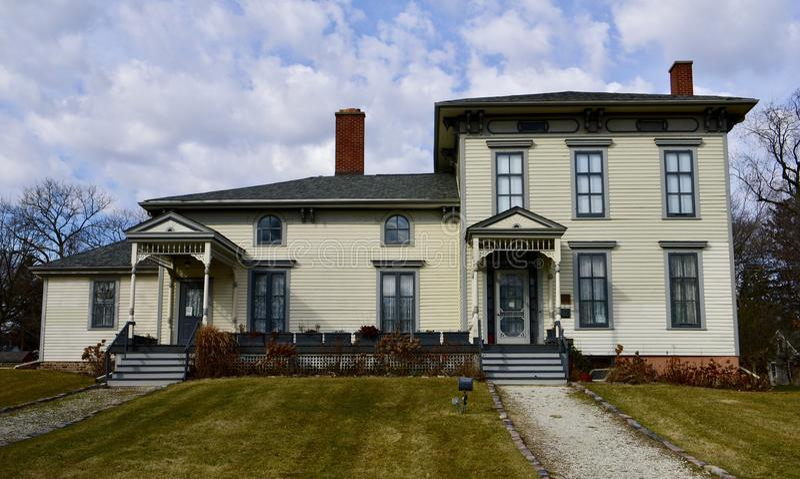Betwist Oudste Huis in Chicago stock foto's