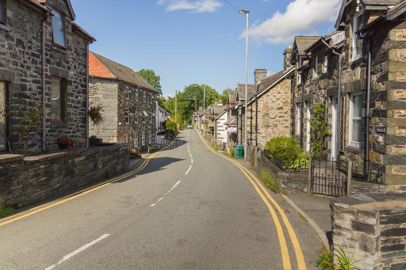 Betws y Coed. Old houses in the Welsh village of Betws-y-Coed. The village is located in the Conwy Valley and is a major outdoor sport and tourist destination stock photos
