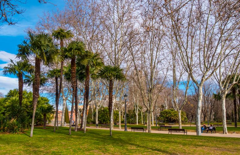 Beuatiful-Park an Debod-Tempel in Madrid lizenzfreies stockfoto