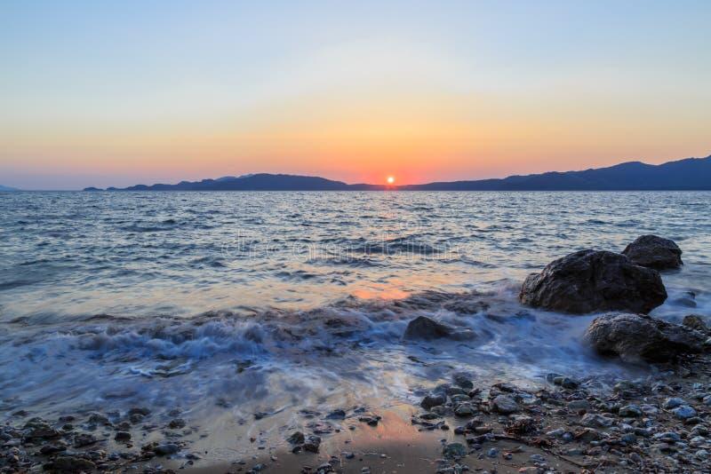 Beuatiful waves of mediterranean sea during sunset near hisaronu, marmaris stock photos