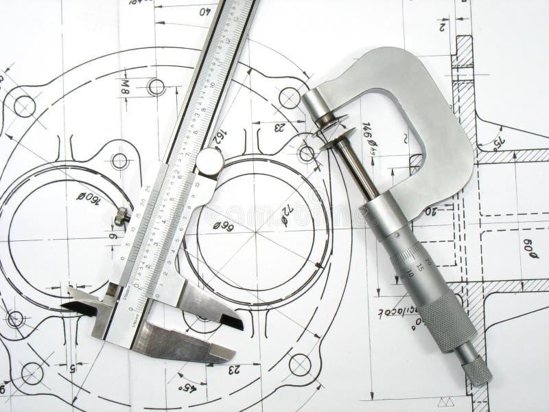 Beugel en Micrometer op technische tekeningen royalty-vrije stock afbeeldingen